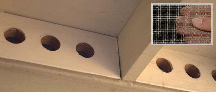 Bee proofing vents under the eaves.